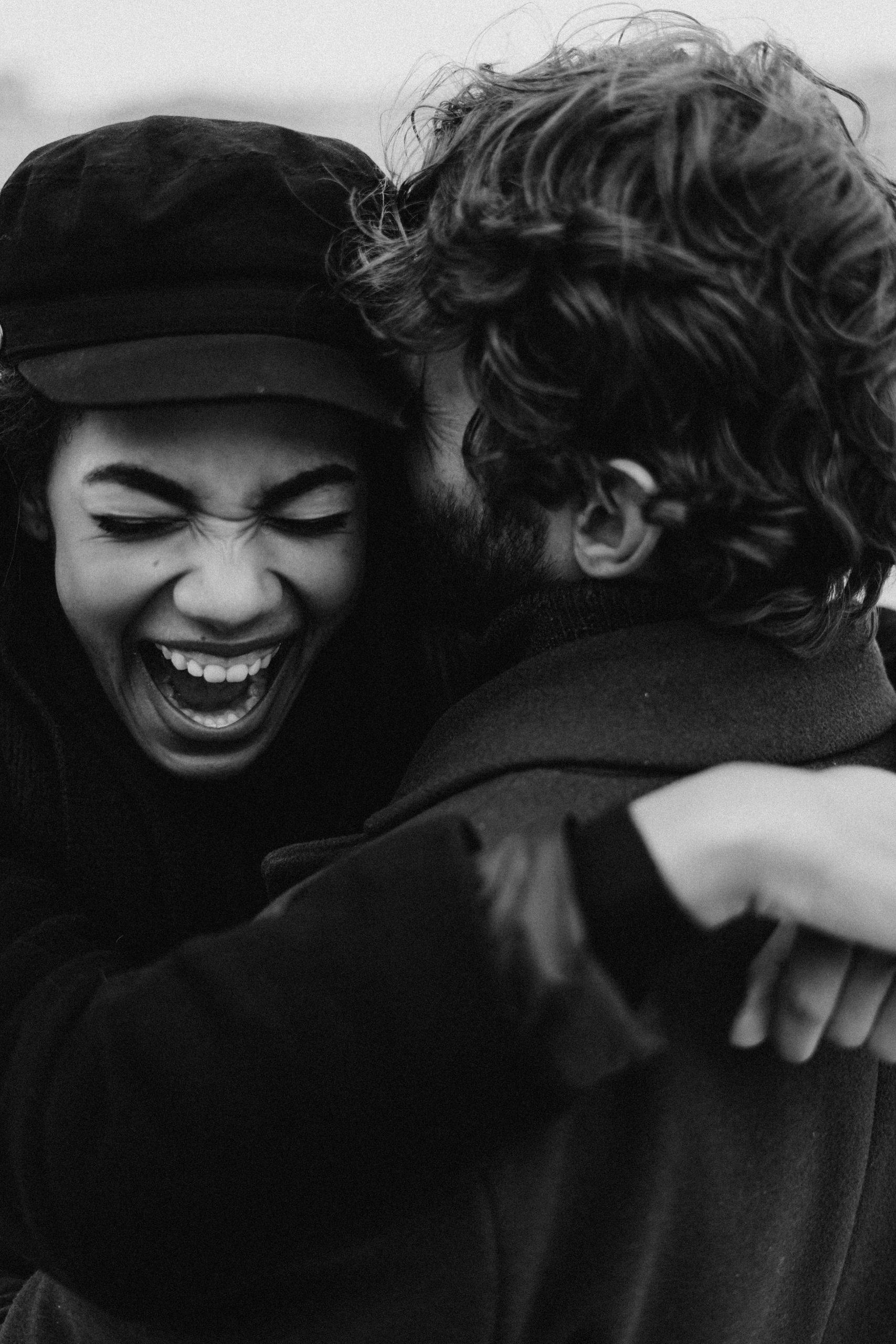 Smiling couple black and white photography